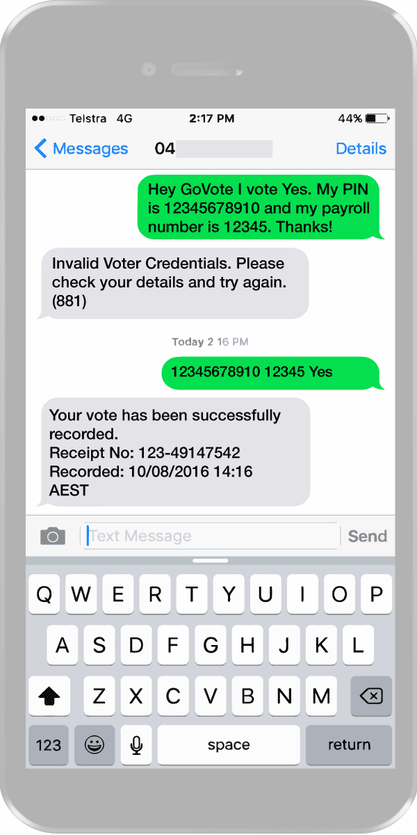 SMS voting examples messages